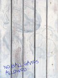 No ball games - on door marked by footballs Stock Photography