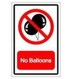 No Balloons Symbol Sign, Vector Illustration, Isolate On White Background Label .EPS10 stock illustration