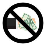 No, banknote, dollar, cash, stop, bribe, bribery, finance, ban, hold, forbidden, corruptibility, law, not, pay, corrupt,. No banknote dollar cash, stop bribe and Royalty Free Stock Photos