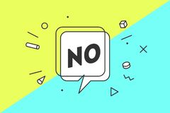 No. Banner, speech bubble. Poster and sticker concept, geometric style with text No. Icon message no cloud talk for banner, poster, web. White background Royalty Free Stock Photos