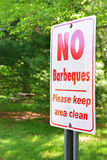 No barbeques sign in a public park Royalty Free Stock Image