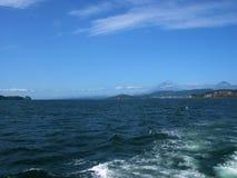 No barco na baía de Avacha pesca verão Península de Kamchatka, Rússia Imagem de Stock