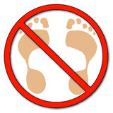 No barefeet allowed. Foot prints with not allowed symbol on top - no walking, no barefeet - vector Stock Images