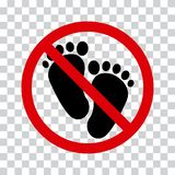 No barefoot sign. Not walk sign. Vector. Illustration stock illustration
