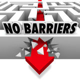 No Barriers Arrow Smashes Through Maze Walls Freedom. An arrow smashes through the walls of a maze or labyrinth below the words No Barriers to illustrate freedom stock illustration