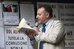No Bavaglio Day - Piero Colaprico. Piero Colaprico speaks at the No gag Day - The public demostration against the Alfano law about interception, the gag law Royalty Free Stock Image