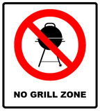 No bbq allowed - ban sign. Vector warning banner Royalty Free Stock Images