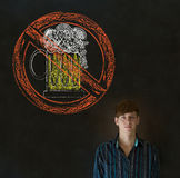 No beer alcohol man on blackboard background Royalty Free Stock Photography