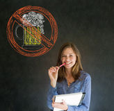 No beer alcohol woman on blackboard background Stock Images