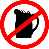 No beer sign. illustration with beerglass. Royalty Free Stock Photo