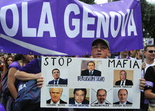 No Berlusconi Day 2. Demonstrator of the People in Purple (Popolo Viola) march during the 2nd No Berlusconi Day against the prime minister Silvio Berlusconi and Stock Photo