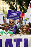 No Berlusconi Day 2. Demonstrators of the People in Purple (Popolo Viola) march during the 2nd No Berlusconi Day against the prime minister Silvio Berlusconi and Stock Image