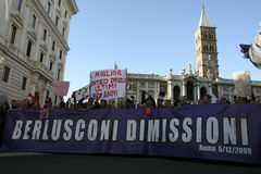 No Berlusconi day, Rome 5/12/09. Manifestation against italian Prime Minister Silvio Berlusconi Stock Image