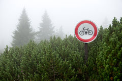 No Bicicle Sign. No Bycicle Sign in dwarf pines (Krkonoše - Giant Mountains, Czech republic Royalty Free Stock Photography