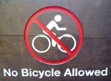 No Bicycle Allowed Signboard Stock Images