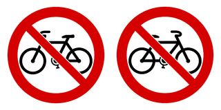 No bicycle / bicycles not allowed sign. Black bike sign in red c. Rossed circle. Left and right facing version royalty free illustration