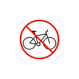 No bicycle line icon, bike prohibition sign, Royalty Free Stock Photo