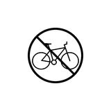No bicycle line icon, bike prohibition sign, Royalty Free Stock Photos