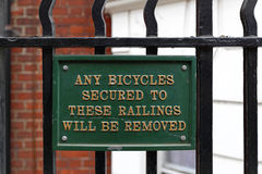 No bicycle railing sign Royalty Free Stock Image