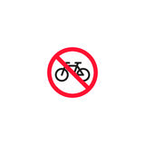 No bicycle roadsign isolated on white background Stock Photos