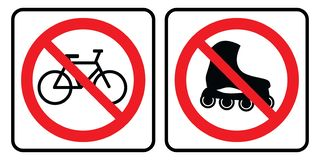 No Roller-skate and No bicycle. No bicycle symbol and No Roller-skate sign.prohibition sign vector illustration.No bicycle symbol and No Roller-skate sign stock illustration