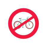 No bicycle vector road sign, restriction of bike, cycling prohibited Royalty Free Stock Image