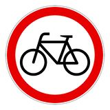No bicycles bikes forbidden vector sign. Simple red no bicycles bikes forbidden sign vector illustration stock illustration