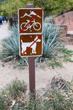 No bicycles, no pets on this trail in zion National Park royalty free stock images