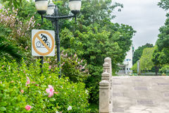 'No bicycles' sign in the public park Stock Photography
