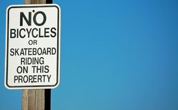 No Bicycles or Skateboarding Stock Images