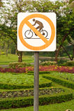 No bike riding sign Royalty Free Stock Image