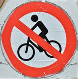 No Bikes Allowed Sign. Red road sign with bike icon stripped Royalty Free Stock Photography