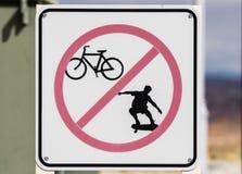 No Biking Skateboarding Sign Royalty Free Stock Photo