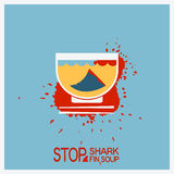 No blood shark finning soup.Vector poster illustration Royalty Free Stock Photography