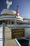 No boarding, private yacht!. Luxury yacht with footbridge and christmas tree Royalty Free Stock Photos