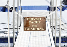 No boarding sign on the private yacht entry bridge Royalty Free Stock Images