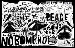 No bomb. A poster that contains a protest against the bombing Royalty Free Stock Image