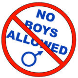 No boys allowed. With male symbol - vector Stock Images