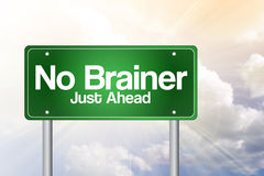 No Brainer, Just Ahead Green Road Sign Stock Photos
