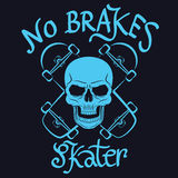 No brakes skater graphic for t-shirt,tee design,poster,emblem,ve Stock Photos