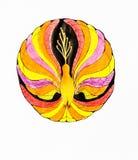 No branco um fundo mostra um pássaro brilhante do fogo, pintado com lápis coloridos ilustração stock