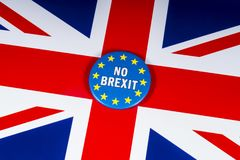 No Brexit United Kingdom. London, UK - November 20th 2018: NO BREXIT pin badge, pictured over the flag of the United Kingdom stock photo
