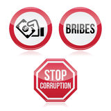 No bribes, sto corruption red warning sign stock illustration