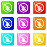 No bug sign icons 9 set Stock Photography