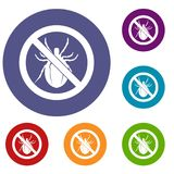 No bug sign icons set Royalty Free Stock Image