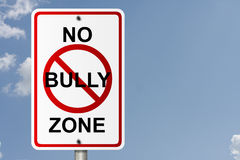 No Bully Zone. An American road sign with sky background and copy space for your message, No Bully Zone royalty free stock photos