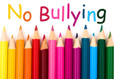 No Bullying. A pencil crayon border  on white background with words No Bullying Stock Photos