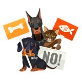 No bullying of animals, protesting cats and dogs with boards stock illustration