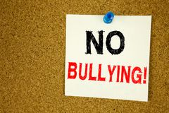 No Bullying hand writing text caption inspiration showing Introduction concept meaning Love Bullies Prevention Against School Work. Or Cyber Internet Harassment Stock Photo