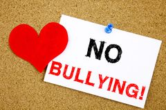 No Bullying hand writing text caption inspiration showing Introduction concept meaning Love Bullies Prevention Against School Work. Or Cyber Internet Harassment Stock Image
